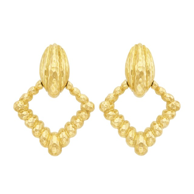 Pair of Gold Door-Knocker Pendant-Earclips