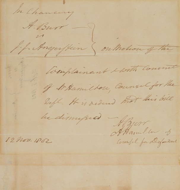 [HAMILTON, ALEXANDER & BURR, AARON]  Legal document signed by Alexander Hamilton and with the secretarial signature of Aaron Burr on the dismissal of the critical New York land tract dispute Burr v. Angerstein.