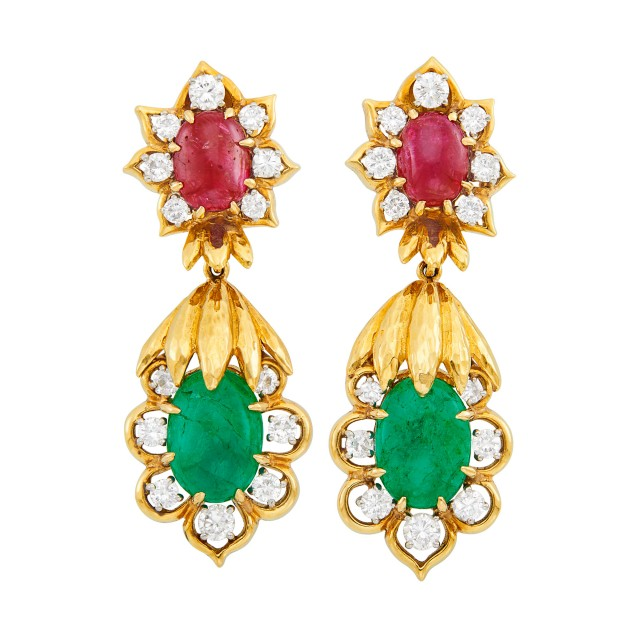 Pair of Gold, Cabochon Ruby, Emerald and Diamond Pendant-Earclips, David Webb