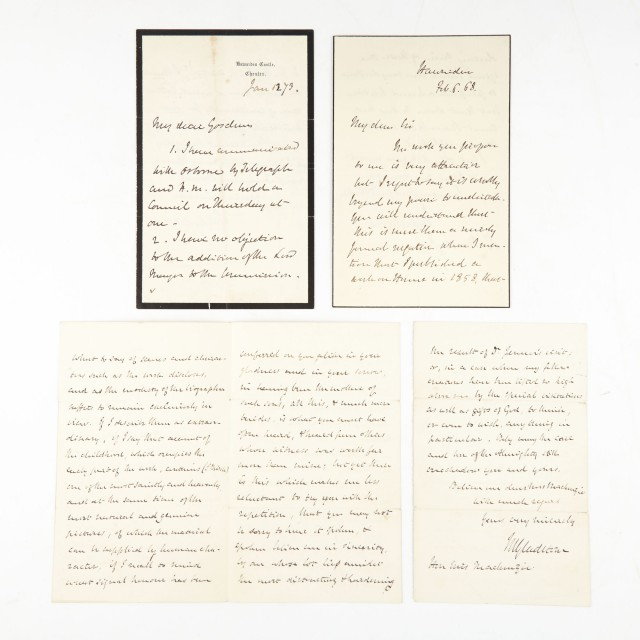 GLADSTONE, WILLIAM EWART  Group of three autograph letters signed.