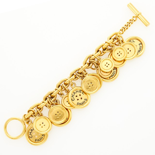 Chanel Gilt-Metal Button Charm Bracelet