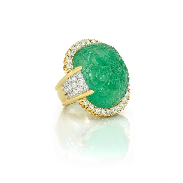 Gold, Platinum, Carved Emerald and Diamond Ring, David Webb