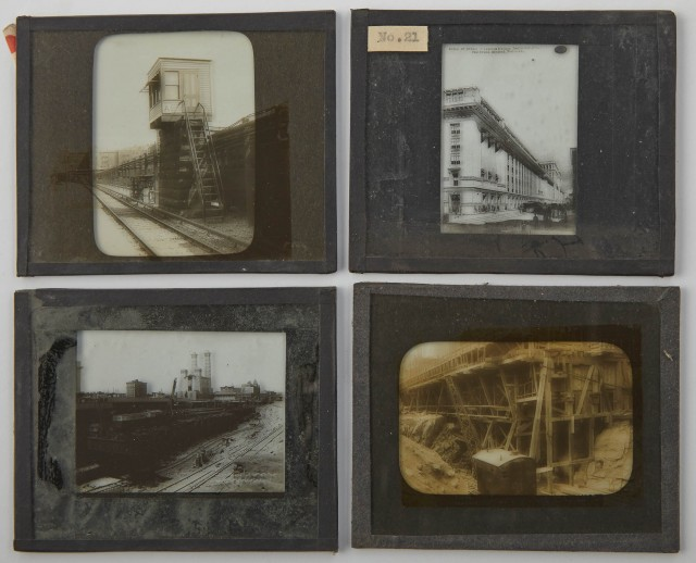 [GRAND CENTRAL TERMINAL]  Group of approximately 75 glass lantern slides depicting the construction of Grand Central terminal and related buildings.