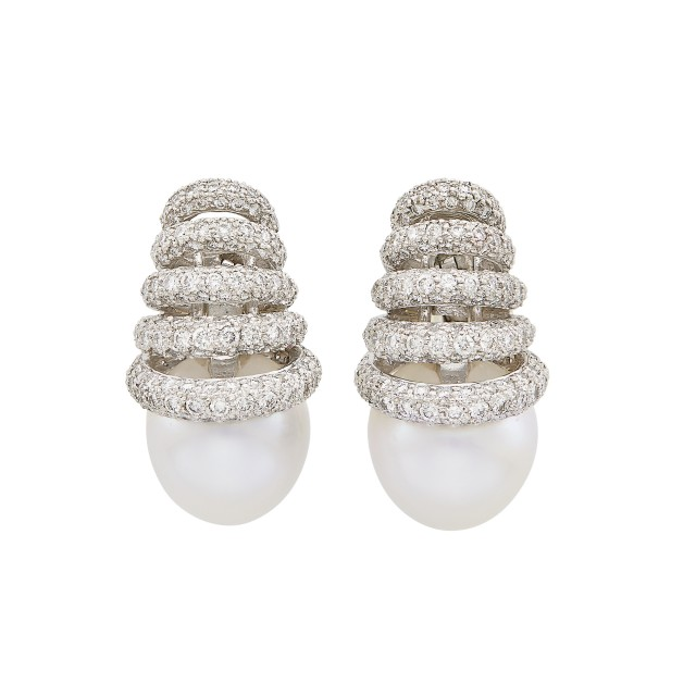 Pair of White Gold, Diamond and South Sea Cultured Pearl Earclips
