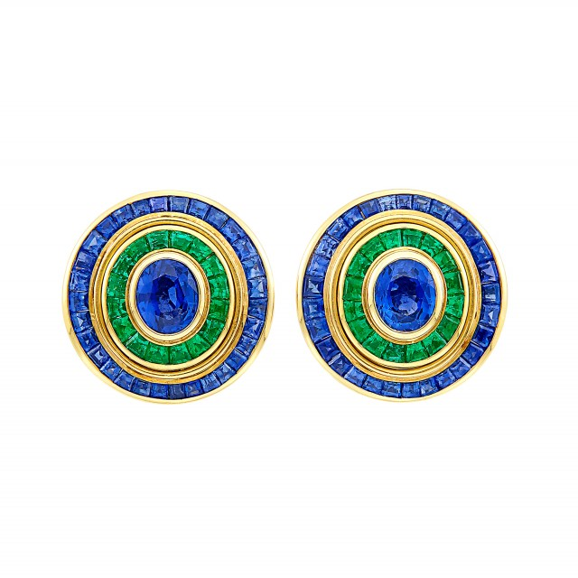 Pair of Gold, Sapphire and Emerald Earclips