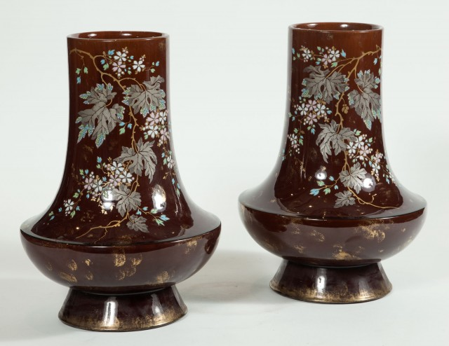 Pair of French Gilt and Enameled Brown Glazed Terracotta Vases