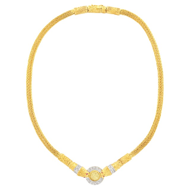 Two-Color Gold and Diamond Medallion Necklace