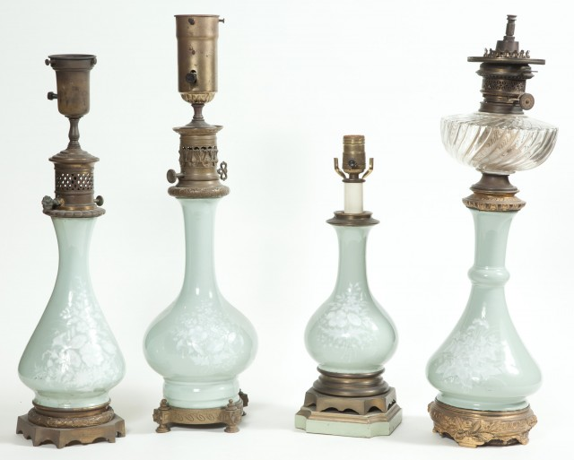 Group of Four French Metal-Mounted Pâte-sur-Pâte Porcelain Floral Decorated Lamps