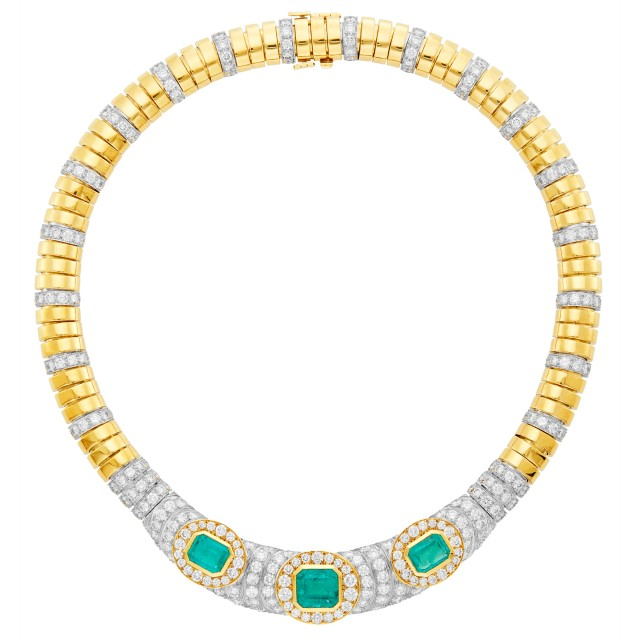 David Webb Gold, Platinum, Emerald and Diamond Necklace