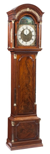 George III Gilt-Metal Mounted Mahogany Tall Case Clock