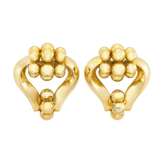 Pair of Retro Gold Clips, Bulgari
