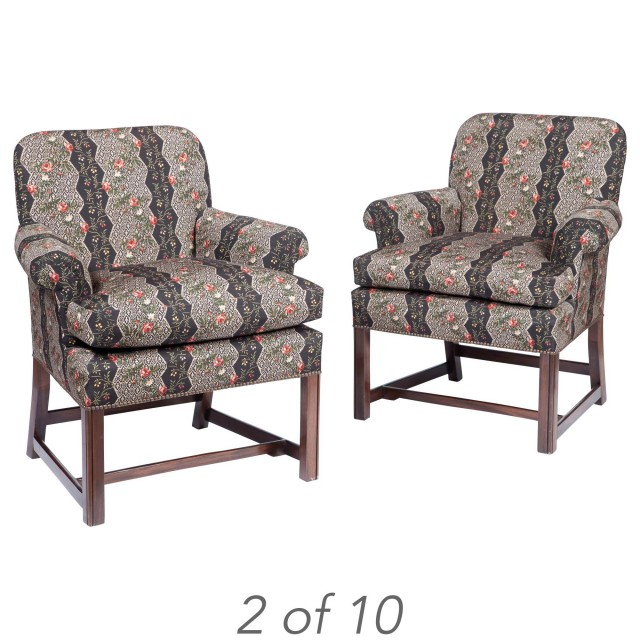 Set of Ten Upholstered Mahogany Armchairs