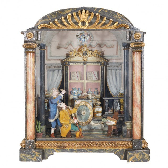 Italian Faux Marble Painted and Parcel Gilt Diorama of a Pharmacy