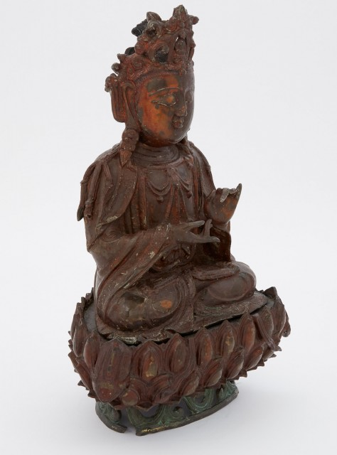 Chinese Gilt and Lacquered Bronze Seated Buddha