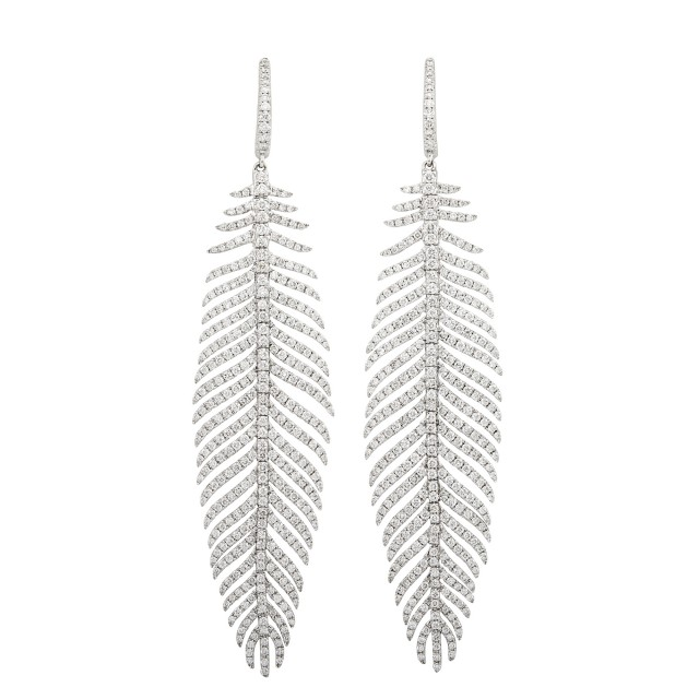 Pair of White Gold and Diamond Feather Pendant-Earrings