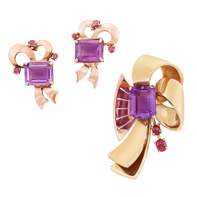 Retro Two-Color Gold, Amethyst and Ruby Brooch and Pair of Earclips