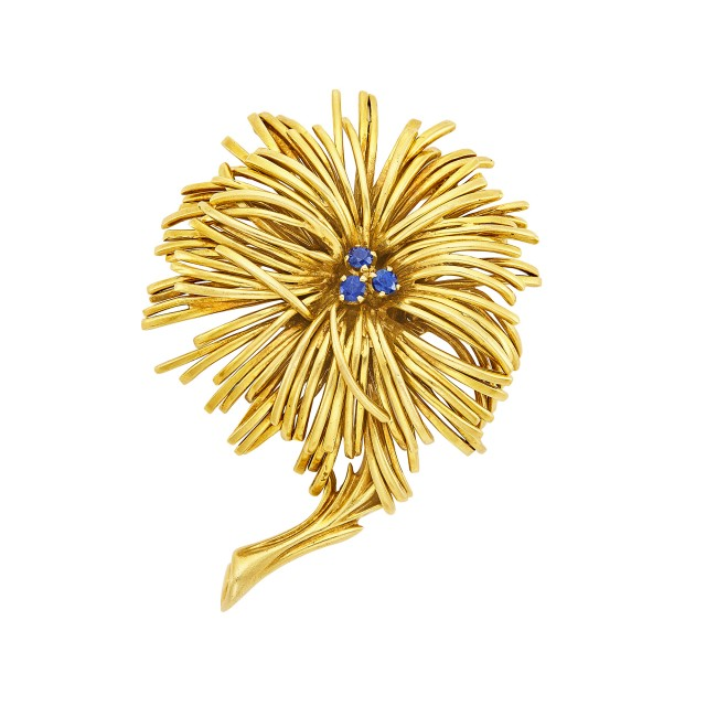 Gold and Sapphire Flower Brooch, Tiffany & Co.