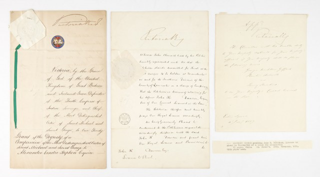 QUEEN VICTORIA  Group of three documents signed