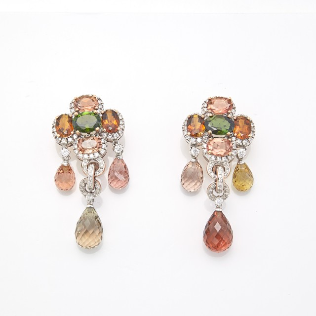 Pair of Two-Color Gold, Citrine, Tourmaline and Diamond Pendant-Earrings