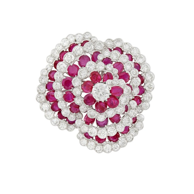 Platinum, Ruby and Diamond Flower Brooch