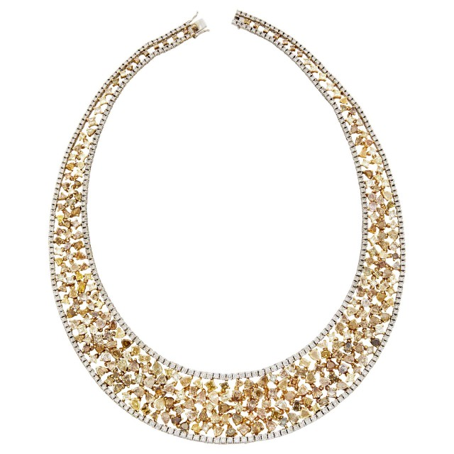 Two-Color Gold, Colored Diamond and Diamond Necklace