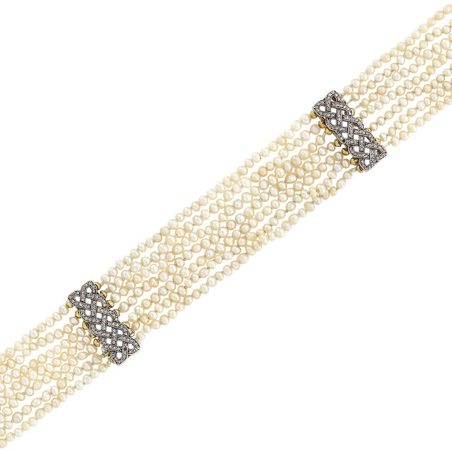 Antique Seven Strand Seed Pearl, Silver, Gold and Diamond Choker Necklace