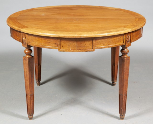 Louis XVI Style Walnut Extension Dining Table