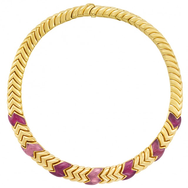 Gold and Pink Tourmaline \'Spiga\' Necklace, Bulgari, France