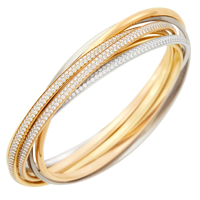 Cartier Tricolor Gold and Diamond 'Trinity' Bangle Bracelet