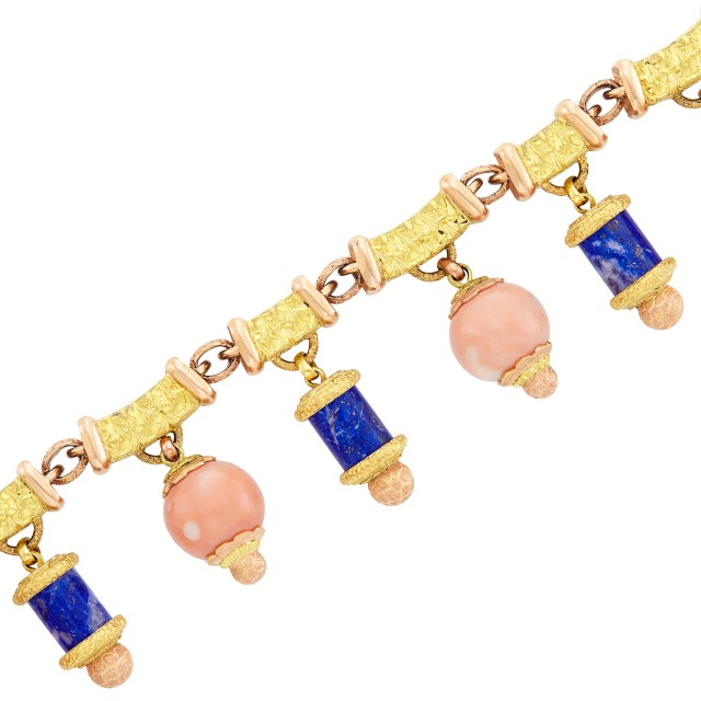Two-Color Gold, Coral and Lapis Bead Charm Bracelet, Emil Meister for Cazzaniga