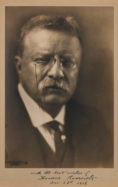 ROOSEVELT, THEODORE  Inscribed photograph