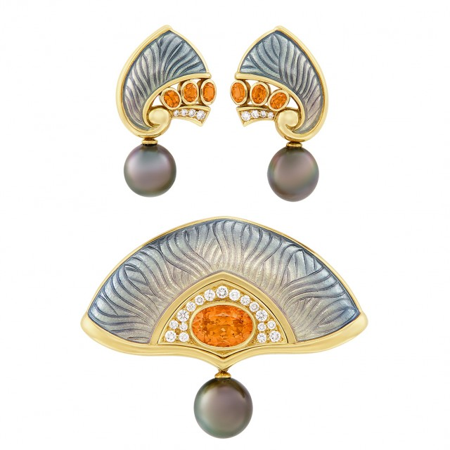 Pair of Gold, Enamel, Tahitian Gray Cultured Pearl, Spessartite Garnet and Diamond Earclips and Brooch, De Vroomen