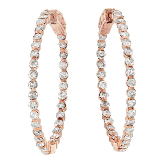 Pair of Rose Gold and Diamond Hoop Earrings