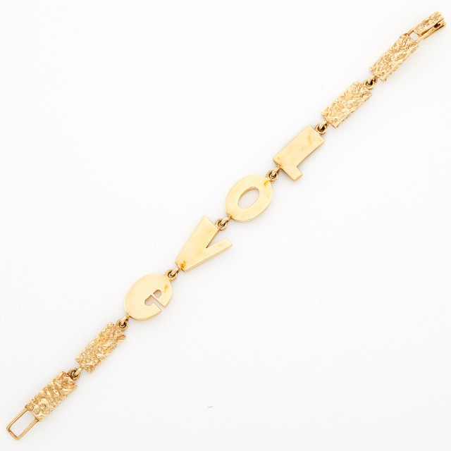 Nugget Gold 'Love' Bracelet