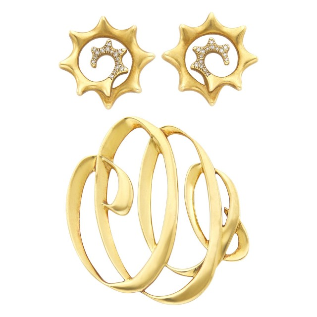 Tiffany and Co. Paloma Picasso Gold Brooch and Angela Cummings Pair of Gold and Diamond Earrings