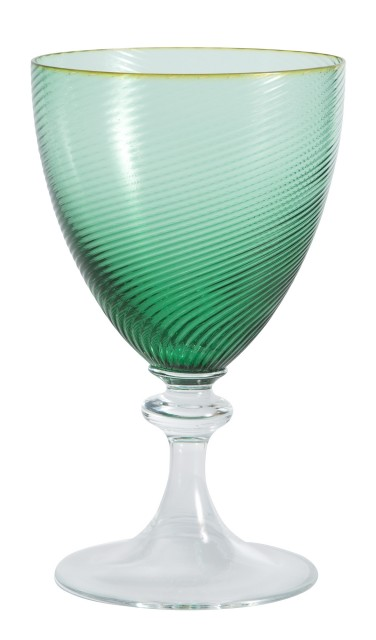 Set of Hand-Blown Green and Colorless Glass Oversize Goblets