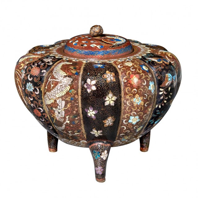 Japanese Cloisonné Enamel Covered Vase