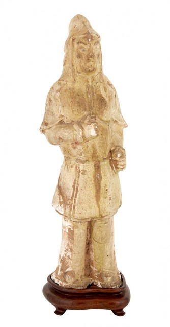 Chinese Straw Glazed Standing Warrior