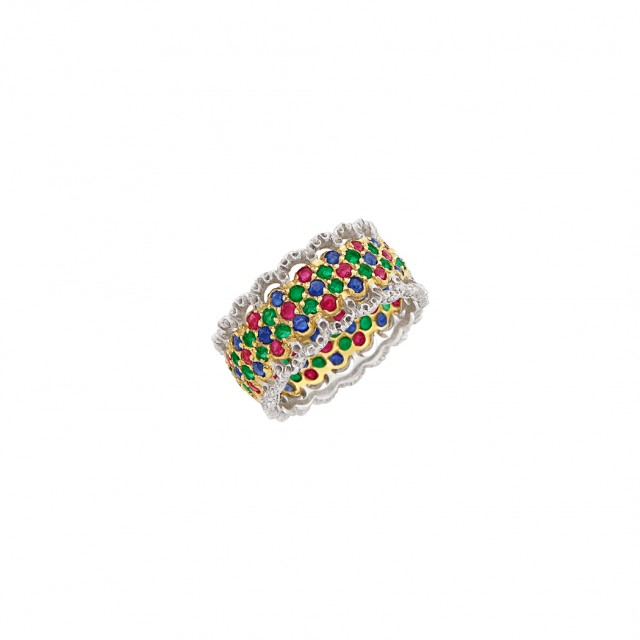 Two-Color Gold, Ruby, Emerald and Sapphire Band Ring, Buccellati