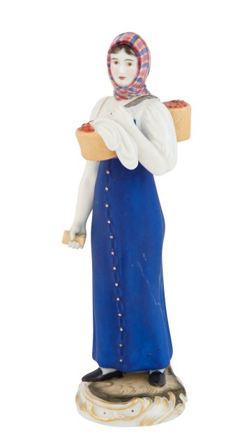 Russian Porcelain Figure of a Peasant Woman with a Basket of Berries
