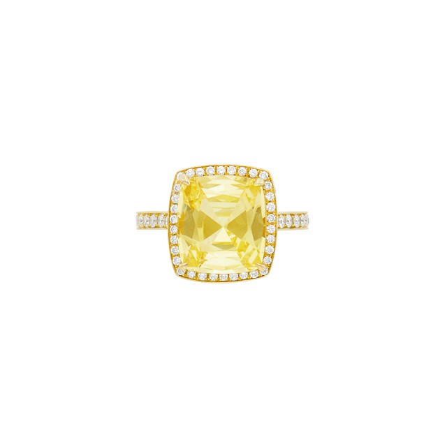 Gold, Yellow Sapphire and Diamond Ring