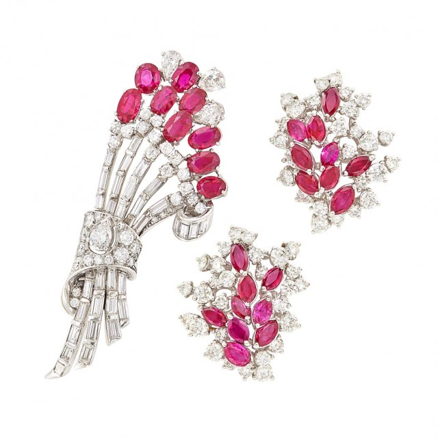 Pair of Platinum, Ruby and Diamond Cluster Earclips and Brooch