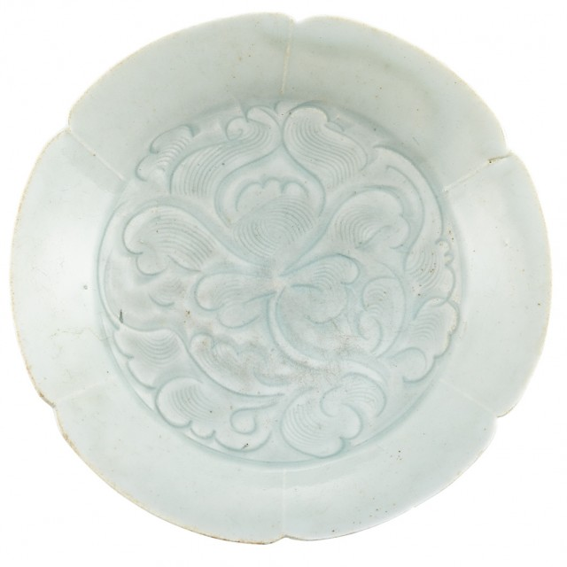 Chinese Qingbai Carved Lobed Dish