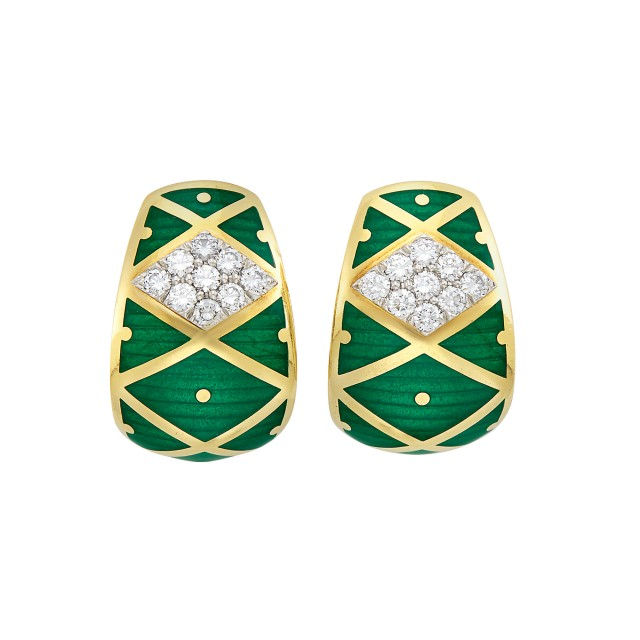 Pair of Gold, Platinum, Green Enamel and Diamond Earclips