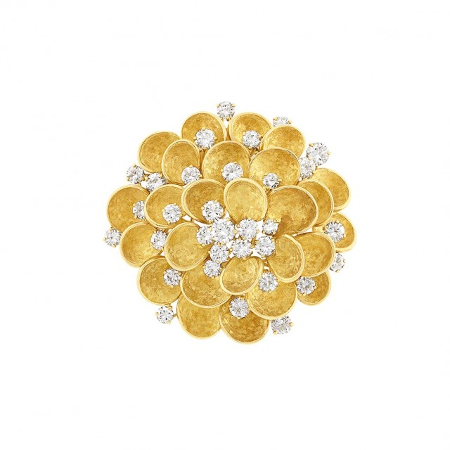 Gold and Diamond Flower Clip-Brooch, Bulgari