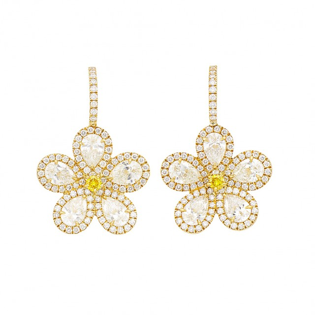 Pair of Gold, Diamond and Colored Diamond Flower Pendant-Earrings