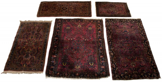 Group of Five Sarouk Rugs