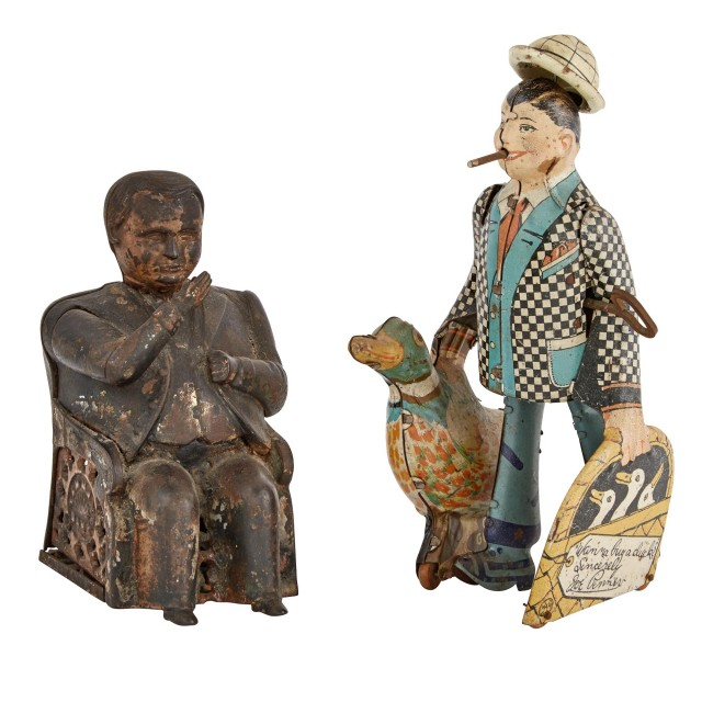 American Cast-Iron Mechanical Tammany Hall Bank Boss; Together with a Marx Joe Penner Wanna Buy a Duck Tin Toy