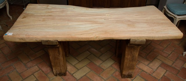 Rustic Style Scrubbed Wood Slab Table