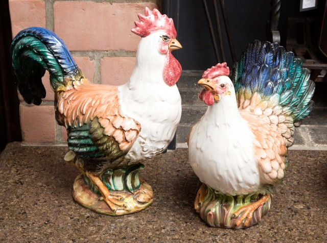 Two Horchow Pottery Figures of a Rooster and a Chicken